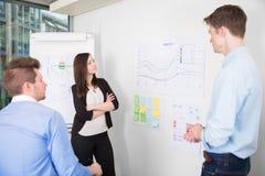 Бизнесмены обсуждая над линией диаграммой в офисе Стоковое Изображение RF