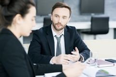 Бизнесмены обсуждая партнерство Стоковые Изображения RF
