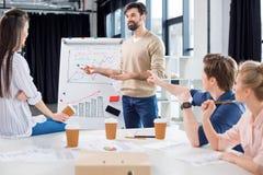 Бизнесмены обсуждая диаграммы и статистик на малой встрече офиса Стоковое фото RF