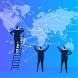 Бизнесмены объединяются в команду при карта мира соединяя точку для глобальной связи современная компания корпорации Стоковые Фото