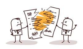 Бизнесмены ломая контракт иллюстрация вектора