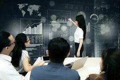 Бизнесмены представляя данные на футуристическом экране на встрече Стоковое Изображение