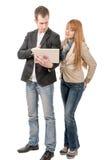 2 бизнесмены работая вместе с компьтер-книжкой Стоковое фото RF