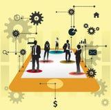 Бизнесмены работая совместно. Дизайн принципиальной схемы сотрудничества. Стоковая Фотография