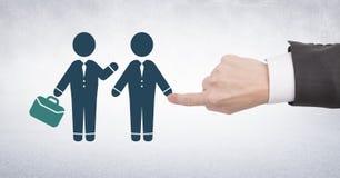 Бизнесмены руки касающие приветствуя значки с портфелем Стоковые Фото