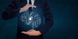 Бизнесмены руки AI отжимают телефон Технология мозга графическая бинарная голубая стоковое фото rf