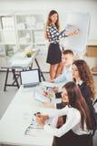 Бизнесмены сидя и обсуждая на деловой встрече, в офисе вектор людей jpg иллюстрации дела Стоковое фото RF