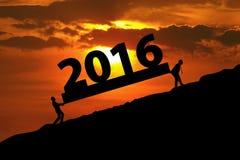 Бизнесмены силуэта нося 2016 Стоковые Фото