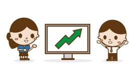 Бизнесмены смотря диаграмму роста Бесплатная Иллюстрация