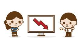Бизнесмены смотря плохую диаграмму результатов Бесплатная Иллюстрация