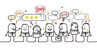 Бизнесмены счастливого мультфильма социальные и Новый Год 2019 иллюстрация штока