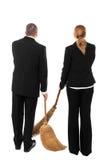 2 бизнесмены с вениками Стоковые Изображения RF