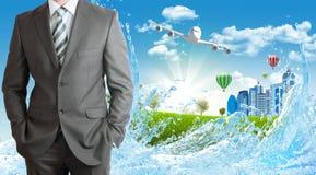 Бизнесмены с зданиями и самолетом Стоковые Фотографии RF