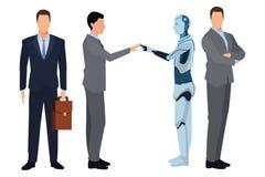 Бизнесмены с роботом гуманоида иллюстрация вектора