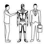 Бизнесмены с роботом гуманоида черно-белым иллюстрация вектора