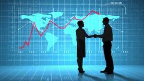 Бизнесмены тряся руки перед интерфейсом глобального бизнеса акции видеоматериалы