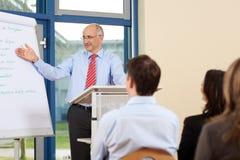 Бизнесмен давая представление к предпринимателям Стоковые Изображения