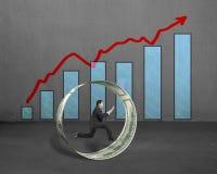 Бизнесмен бежать внутренний круг денег с растущей стрелкой и c Стоковая Фотография