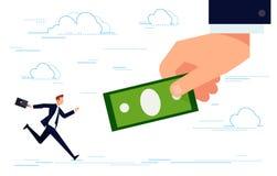 Бизнесмен бежать для доллара Стоковая Фотография