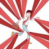 Бизнесмен бежать и преодолевая в бюрократизме бесплатная иллюстрация