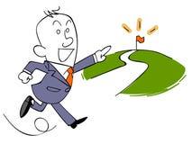 Бизнесмен бежать к цели иллюстрация штока