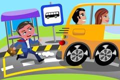 Бизнесмен бежать последняя госпож автобусная остановка иллюстрация штока