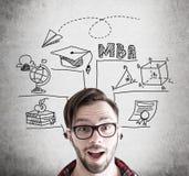 Бизнесмен битника и эскиз MBA бетон Стоковое Изображение