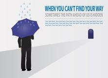 Бизнесмен вектора с зонтиком пробуя найти его путь Концепция стратеги иллюстрация вектора
