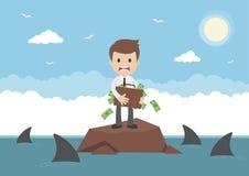 Бизнесмен вектора шаржа окруженный акулами Стоковые Изображения