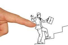 Бизнесмен взбираясь вверх лестница карьеры Стоковое Изображение
