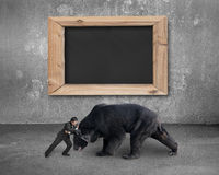 Бизнесмен воюя против черного медведя с пустым классн классным Стоковые Фотографии RF