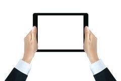 Бизнесмен вручает держать ПК таблетки с пустым экраном Стоковое Фото