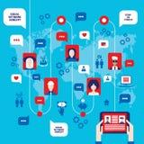 Бизнесмен вручает держать таблетку с значками сети на концепции сети предпосылки карты мира социальной Иллюстрация штока