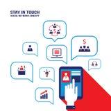 Бизнесмен вручает касаться экрану таблетки с связью системы значков воплощения и дела социальной Иллюстрация штока