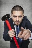 Бизнесмен выбирает вас для боя с кризисом стоковая фотография rf