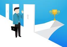 Бизнесмен выбирает правые двери, который нужно войти его успех иллюстрация штока