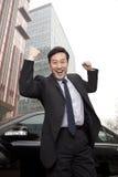 Бизнесмен выражая восторг стоковое изображение rf