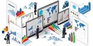 Бизнесмен в визуализировании дела и концепции infographics иллюстрация штока