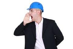 Бизнесмен в защитном шлеме Стоковые Изображения RF