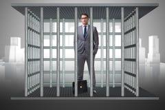 Бизнесмен в концепции дела клетки Стоковое фото RF