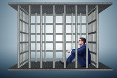 Бизнесмен в концепции дела клетки Стоковая Фотография