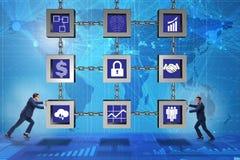 Бизнесмен в концепции cryptocurrency blockchain стоковое фото