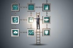 Бизнесмен в концепции cryptocurrency blockchain стоковые изображения