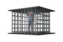 Бизнесмен в клетке изолированной на белизне Стоковое Изображение