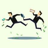 Бизнесмен в панике, потере денег, спаде рынка также вектор иллюстрации притяжки corel Стоковое Изображение RF