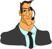 Бизнесмен в пальто с шлемофоном - вектором Стоковое фото RF