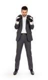 Бизнесмен в перчатках бокса Стоковые Изображения RF