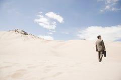 Бизнесмен в пустыне стоковое фото rf