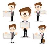 Бизнесмен в различных представлениях с конвертом бесплатная иллюстрация