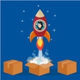 Бизнесмен в ракете, который нужно витать из коробки Стоковое Изображение